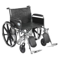 Drive Medical Sentra EC Heavy Duty Wheelchair, Detachable Full Arms, Elevating Leg Rests, 24 inches Seat - 1 ea