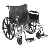 Drive Medical Sentra EC Heavy Duty Wheelchair, Detachable Full Arms, Swing away Footrests, 24 inches Seat - 1 ea
