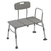 Drive Medical Plastic Tub Transfer Bench with Adjustable Backrest - 1 ea