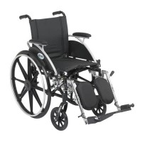 Drive Medical Viper Wheelchair with Flip Back Removable Arms, Desk Arms, Elevating Leg Rests, 14 inches Seat - 1 ea