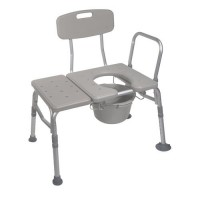 Drive Medical Combination Plastic Transfer Bench with Commode Opening - 1 ea