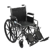 Drive Medical Chrome Sport Wheelchair, Detachable Desk Arms, Elevating Leg Rests, 18 inches Seat - 1 ea