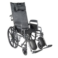 Drive Medical Silver Sport Reclining Wheelchair with Elevating Leg Rests, Detachable Desk Arms, 18 inches Seat - 1 ea