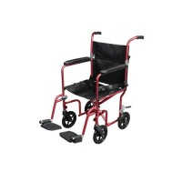 Drive Medical Flyweight Lightweight Transport Wheelchair with Removable Wheels, Red - 1 ea