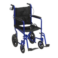 Drive Medical Lightweight Expedition Transport Wheelchair with Hand Brakes, Blue - 1 ea