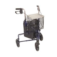 Drive Medical 3 Wheel Walker Rollator with Basket Tray and Pouch, Flame Blue - 1 ea