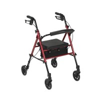 Drive Medical Adjustable Height Rollator with 6 inches Wheels, Red - 1 ea