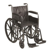 Drive Medical Silver Sport 2 Wheelchair, Detachable Full Arms, Swing away Footrests, 20 inches Seat - 1 ea