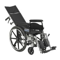 Drive Medical Viper Plus GT Full Reclining Wheelchair, Detachable Desk Arms, 16 inches Seat - 1 ea