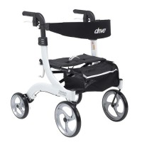 Drive Medical Nitro Euro Style Walker Rollator, Hemi Height, White - 1 ea