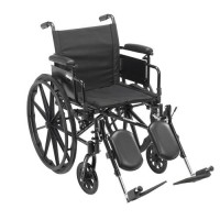 Drive Medical Cruiser X4 Lightweight Dual Axle Wheelchair with Adjustable Detachable Arms, Desk Arms, Elevating Leg Rests, 18 inches Seat - 1 ea