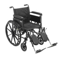 Drive Medical Cruiser X4 Lightweight Dual Axle Wheelchair with Adjustable Detachable Arms, Full Arms, Elevating Leg Rests, 20 inches Seat - 1 ea