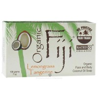 Organic Fiji Face and Body Coconut Oil Bar Soap Lemongrass, Tangerine - 7 oz