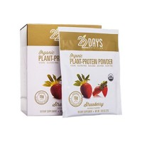 22 Days Nutrition organic plant protein powder, Strawberry - 0.95 oz, 12 ea