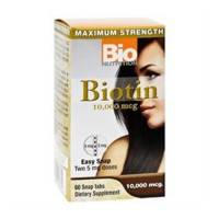 Bio nutrition biotin 10,000 mcg easy snap tablets, healthy hair and nails  -  60 ea