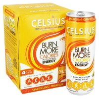Celsius sparkling orange calorie reducing drink - 12 oz, 4 cans