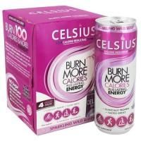 Celsius calorie reducing drink, sparkling wild berry - 12 oz, 4 cans