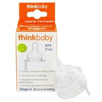 Thinkbaby nipple stage a 0 to 6 months with venting - 2 ea