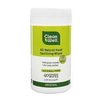 CleanWell All-Natural Hand Sanitizing Wipes, Original - 40 ea