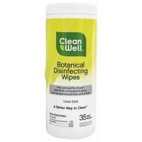 CleanWell Botanical Disinfecting Wipes, Lemon Scent - 35 ea