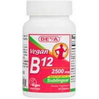 Deva nutrition vegan sublingual B12 tablets 2500 mcg - 90 ea