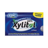 Epic dental 100% xylitol sweetened gum, peppermint - 12 count, 12 pack