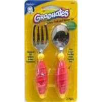 Gerber graduates safety grip fork and spoon - 3 ea
