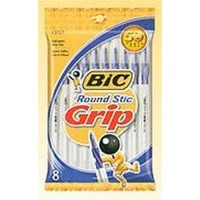 Bic ultra round stic easy glide grip medium point ball pen blue - 6 ea