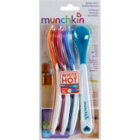 Munchkin hot infant safety spoons, white - 6 ea