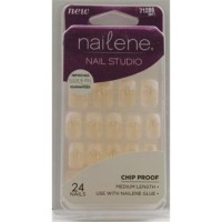 Nailene studio nails medium nail kit french with glitter - 2 ea