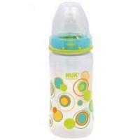 Nuk trendline bottle with silicone medium flow nipple, 0 plus months, dot pattern  - 3 ea